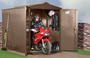 brown motorcycle shelter